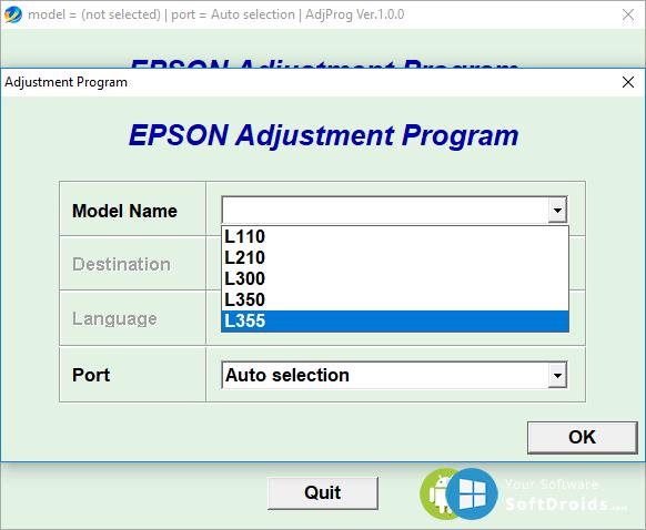 Epson l355 adjustment program скачать